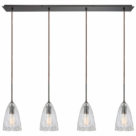 10459/4LP ELK Lighting Hand Formed Glass 4-Light Linear Pendant Fixture in Oiled Bronze with Clear Hand-formed Glass