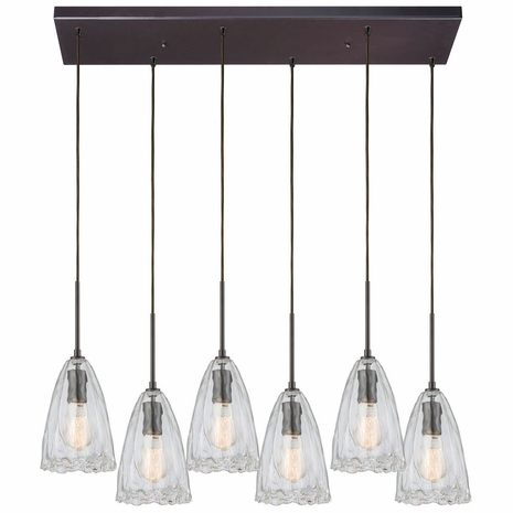 10459/6RC ELK Lighting Hand Formed Glass 6-Light Rectangular Pendant Fixture in Oiled Bronze with Clear Hand-formed Glass