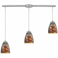 10460/3L-CS ELK Lighting Abstractions 3-Light Linear Pendant Fixture in Satin Nickel with Cosmic Storm Glass