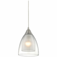10464/1 ELK Lighting Layers 1-Light Mini Pendant in Satin Nickel with Clear Glass
