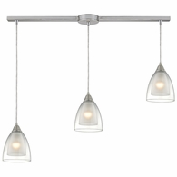 10464/3L ELK Lighting Layers 3-Light Linear Pendant Fixture in Satin Nickel with Clear Glass