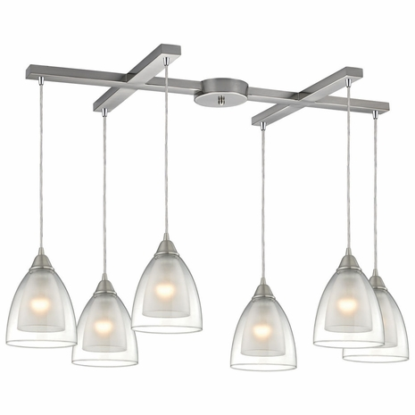 10464/6 ELK Lighting Layers 6-Light H-Bar Pendant Fixture in Satin Nickel with Clear Glass