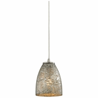 10465/1SVF ELK Lighting Fissure 1-Light Mini Pendant in Satin Nickel with Silver Glass