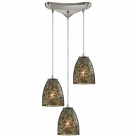 10465/3BRF ELK Lighting Fissure 3-Light Triangular Pendant Fixture in Satin Nickel with Smoke Glass