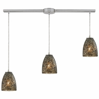 10465/3L-BRF ELK Lighting Fissure 3-Light Linear Pendant Fixture in Satin Nickel with Smoke Glass