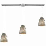 10465/3L-SVF ELK Lighting Fissure 3-Light Linear Pendant Fixture in Satin Nickel with Silver Glass
