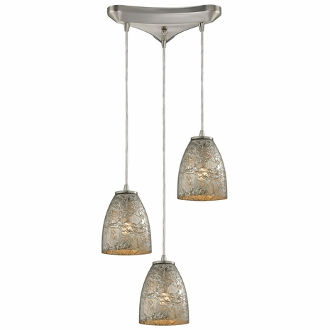 10465/3SVF ELK Lighting Fissure 3-Light Triangular Pendant Fixture in Satin Nickel with Silver Glass