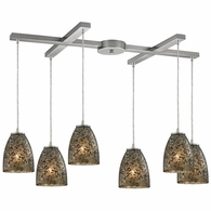 10465/6BRF ELK Lighting Fissure 6-Light H-Bar Pendant Fixture in Satin Nickel with Smoke Glass