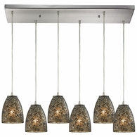 10465/6RC-BRF ELK Lighting Fissure 6-Light Rectangular Pendant Fixture in Satin Nickel with Smoke Glass