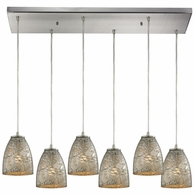 10465/6RC-SVF ELK Lighting Fissure 6-Light Rectangular Pendant Fixture in Satin Nickel with Silver Glass