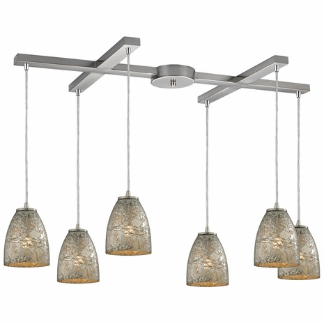 10465/6SVF ELK Lighting Fissure 6-Light H-Bar Pendant Fixture in Satin Nickel with Silver Glass