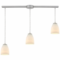 10466/3L ELK Lighting Sandstorm 3-Light Linear Pendant Fixture in Satin Nickel with Off-white Glass