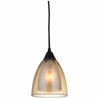 10474/1 ELK Lighting Layers 1-Light Mini Pendant in Oil Rubbed Bronze with Amber Teak Glass