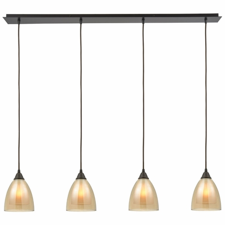 10474/4LP ELK Lighting Layers 4-Light Linear Pendant Fixture in Oil Rubbed Bronze with Amber Teak Glass