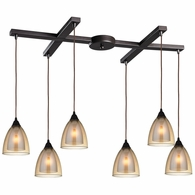 10474/6 ELK Lighting Layers 6-Light H-Bar Pendant Fixture in Oil Rubbed Bronze with Amber Teak Glass