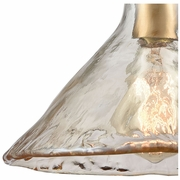 10486/1 ELK Lighting Hand Formed Glass 1-Light Mini Pendant in Satin Brass with Champagne-plated Hand-formed Glass