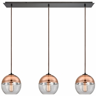 10490/3LP ELK Lighting Revelo 3-Light Linear Mini Pendant Fixture in Oil Rubbed Bronze with Clear and Copper-plated Glass