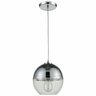 10492/1 ELK Lighting Revelo 1-Light Mini Pendant in Polished Chrome with Clear and Chrome-plated Glass