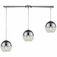 10492/3L ELK Lighting Revelo 3-Light Linear Mini Pendant Fixture in Polished Chrome with Clear and Chrome-plated Glass
