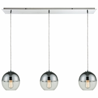 10492/3LP ELK Lighting Revelo 3-Light Linear Mini Pendant Fixture in Polished Chrome with Clear and Chrome-plated Glass