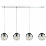 10492/4LP ELK Lighting Revelo 4-Light Linear Pendant Fixture in Polished Chrome with Clear and Chrome-plated Glass