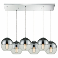 10492/6RC ELK Lighting Revelo 6-Light Rectangular Pendant Fixture in Polished Chrome with Clear and Chrome-plated Glass
