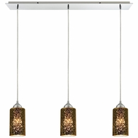 10505/3LP ELK Lighting Illusions 3-Light Linear Mini Pendant Fixture in Polished Chrome with Sage Mercury Mirror Glass