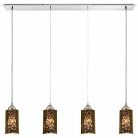 10505/4LP ELK Lighting Illusions 4-Light Linear Pendant Fixture in Polished Chrome with Sage Mercury Mirror Glass