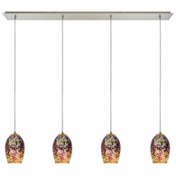 10506/4LP ELK Lighting Illusions 4-Light Linear Pendant Fixture in Satin Nickel with Fireworks Glass