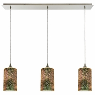 10508/3LP ELK Lighting Illusions 3-Light Linear Mini Pendant Fixture in Satin Nickel with 3-D Starburst Glass