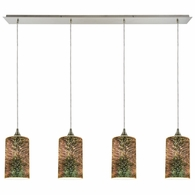 10508/4LP ELK Lighting Illusions 4-Light Linear Pendant Fixture in Satin Nickel with 3-D Starburst Glass