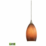 10510/1SND-LED ELK Lighting Earth 1-Light Mini Pendant in Satin Nickel with Textured Sand Glass - Includes LED Bulb