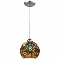 10517/1 ELK Lighting Illusions 1-Light Mini Pendant in Polished Chrome with 3-D Starburst Glass