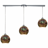 10517/3L ELK Lighting Illusions 3-Light Linear Mini Pendant Fixture in Polished Chrome with 3-D Starburst Glass
