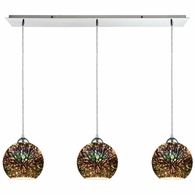 10517/3LP ELK Lighting Illusions 3-Light Linear Mini Pendant Fixture in Polished Chrome with 3-D Starburst Glass