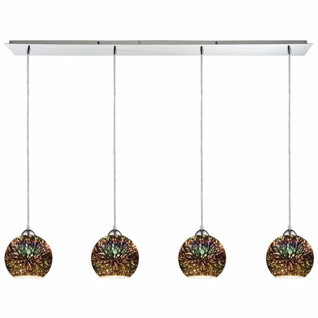 10517/4LP ELK Lighting Illusions 4-Light Linear Pendant Fixture in Polished Chrome with 3-D Starburst Glass