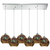 10517/6RC ELK Lighting Illusions 6-Light Rectangular Pendant Fixture in Polished Chrome with 3-D Starburst Glass