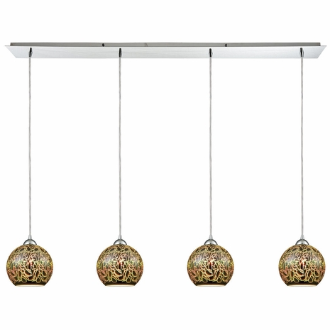 10518/4LP ELK Lighting Illusions 4-Light Linear Pendant Fixture in Polished Chrome with 3-D Graffiti Glass