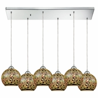 10518/6RC ELK Lighting Illusions 6-Light Rectangular Pendant Fixture in Polished Chrome with 3-D Graffiti Glass