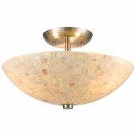 10541/3 ELK Lighting Capri 3-Light Semi Flush Mount in Satin Nickel with Glass/Capiz Shells