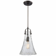 10555/1 ELK Lighting Hand Formed Glass 1-Light Mini Pendant in Oiled Bronze with Clear Hand-formed Glass