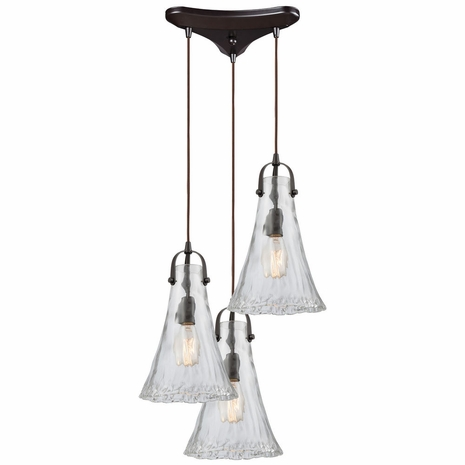 10555/3 ELK Lighting Hand Formed Glass 3-Light Triangular Pendant Fixture in Oiled Bronze with Clear Hand-formed Glass