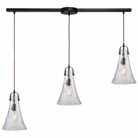 10555/3L ELK Lighting Hand Formed Glass 3-Light Linear Mini Pendant Fixture in Oiled Bronze with Clear Hand-formed Glass