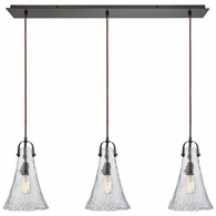 10555/3LP ELK Lighting Hand Formed Glass 3-Light Linear Mini Pendant Fixture in Oiled Bronze with Clear Hand-formed Glass