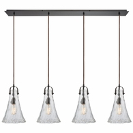 10555/4LP ELK Lighting Hand Formed Glass 4-Light Linear Pendant Fixture in Oiled Bronze with Clear Hand-formed Glass