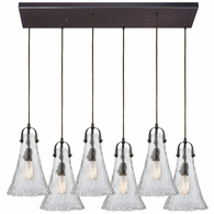 10555/6RC ELK Lighting Hand Formed Glass 6-Light Rectangular Pendant Fixture in Oiled Bronze with Clear Hand-formed Glass