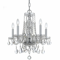1061-CH-CL-MWP Crystorama Traditional Crystal 5 Light Clear Crystal Chrome Mini Chandelier