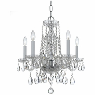 1061-CH-CL-S Crystorama Traditional Crystal 5 Light Swarovski Strass Crystal Chrome Mini Chandelier