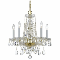 1061-PB-CL-MWP Crystorama Traditional Crystal 5 Light Clear Crystal Brass Mini Chandelier