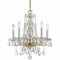 1061-PB-CL-S Crystorama Traditional Crystal 5 Light Swarovski Strass Crystal Brass Mini Chandelier